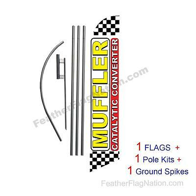 Muffler Catalytic Converter 15' Feather Banner Swooper Flag Kit with pole+spike