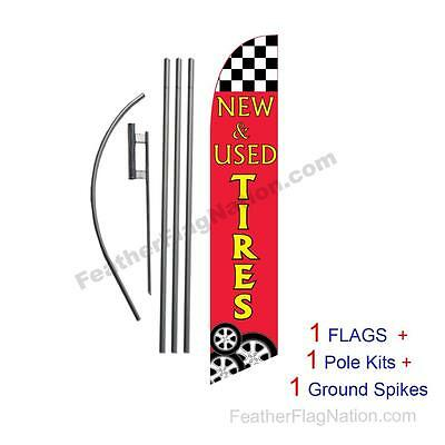 New and Used Tires 15' Feather Banner Swooper Flag Kit with pole+spike