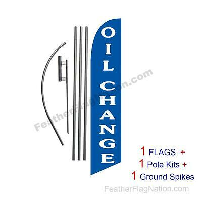 Oil Change (blue) 15' Feather Banner Swooper Flag Kit with pole+spike