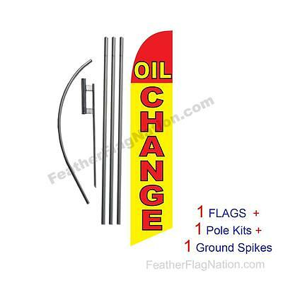 Oil Change (red & yellow) 15' Feather Banner Swooper Flag Kit with pole+spike
