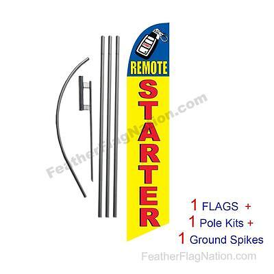 Remote Starter 15' Feather Banner Swooper Flag Kit with pole+spike