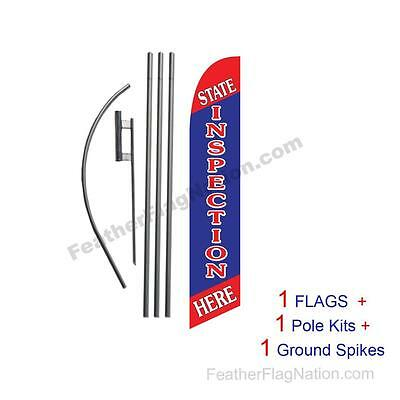 State Inspection Here 15' Feather Banner Swooper Flag Kit with pole+spike