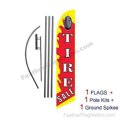 Tire Sale 15' Feather Banner Swooper Flag Kit with pole+spike