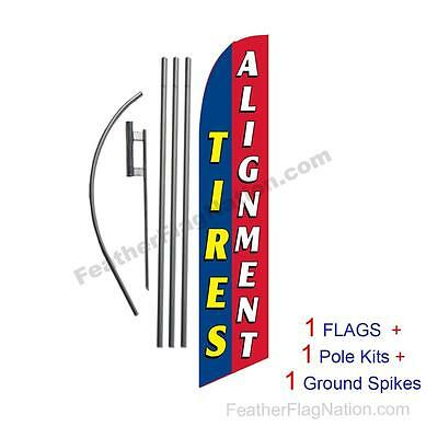 Tires Alignment (red blue) 15' Feather Banner Swooper Flag Kit with pole+spike