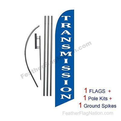 Transmission Repair blue 15' Feather Banner Swooper Flag Kit with pole+spike