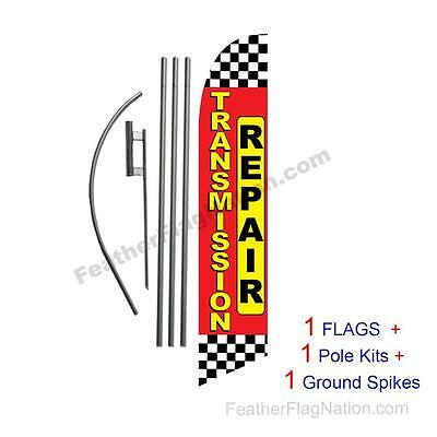 Transmission Repair checker 15' Feather Banner Swooper Flag Kit with pole+spike