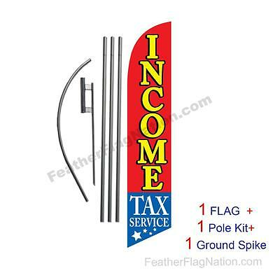 Income Tax Service 15' Feather Banner Swooper Flag Kit with pole+spike