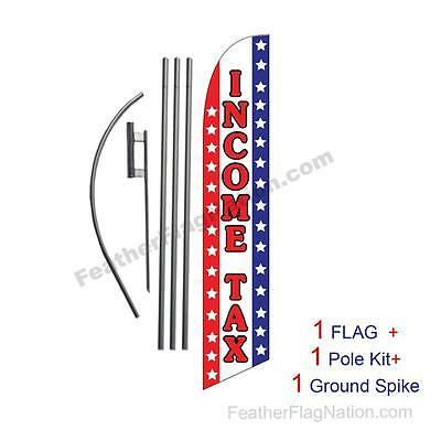 Income Tax Service (usa) 15' Feather Banner Swooper Flag Kit with pole+spike