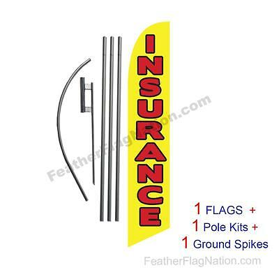 Insurance (yellow) 15' Feather Banner Swooper Flag Kit with pole+spike