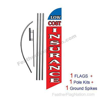 Low Cost Insurance 15' Feather Banner Swooper Flag Kit with pole+spike