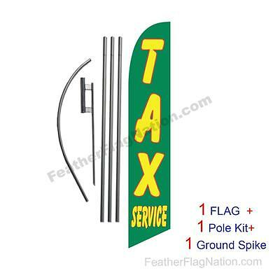 Tax Service (green) 15' Feather Banner Swooper Flag Kit with pole+spike