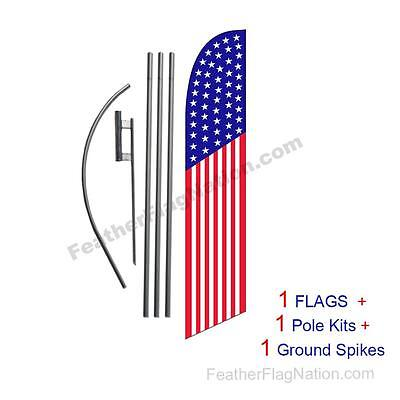 American Flag 50 Stars 15' Feather Banner Swooper Flag Kit with pole+spike