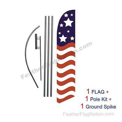 American Glory stars top 15' Feather Banner Swooper Flag Kit with pole+spike