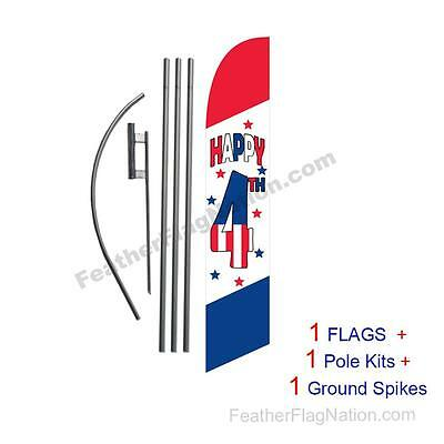 Happy 4th of July 15' Feather Banner Swooper Flag Kit with pole+spike