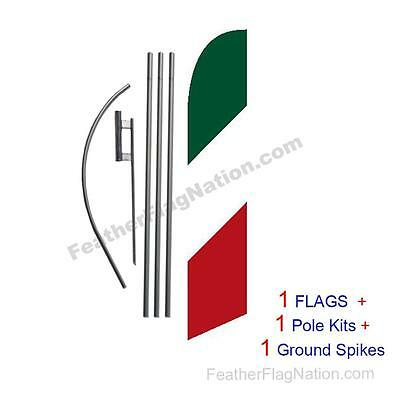 Italian Italy 15' Feather Banner Swooper Flag Kit with pole+spike