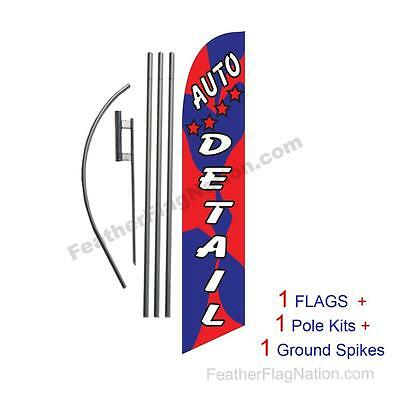 Auto Detail (red and blue) 15' Feather Banner Swooper Flag Kit with pole+spike