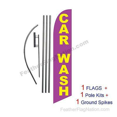 Car Wash (purple and gold) 15' Feather Banner Swooper Flag Kit with pole+spike