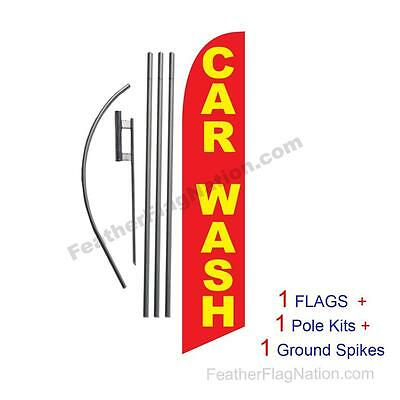 Car Wash (red and yellow) 15' Feather Banner Swooper Flag Kit with pole+spike