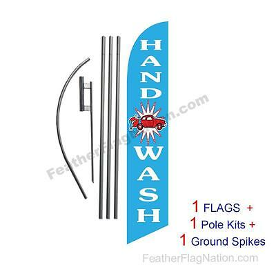 Hand Wash 15' Feather Banner Swooper Flag Kit with pole+spike