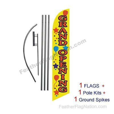 Grand Opening (yellow) 15' Feather Banner Swooper Flag Kit with pole+spike