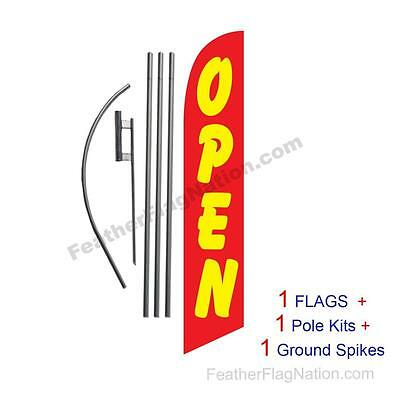 OPEN (red & yellow) 15' Feather Banner Swooper Flag Kit with pole+spike