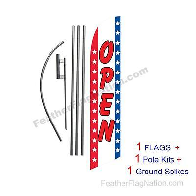 Open (stars and stripes) 15' Feather Banner Swooper Flag Kit with pole+spike