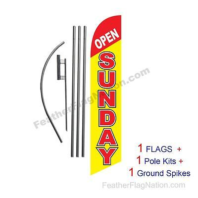 Open Sunday 15' Feather Banner Swooper Flag Kit with pole+spike