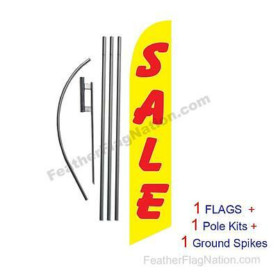 SALE (yellow and red) 15' Feather Banner Swooper Flag Kit with pole+spike