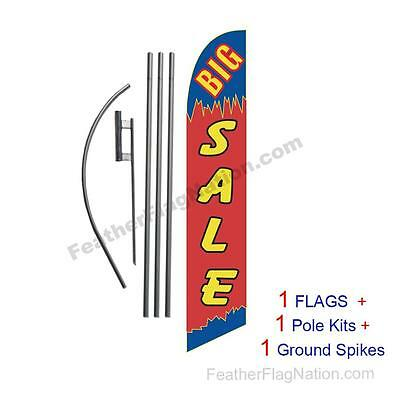 BIG SALE (blue and red) 15' Feather Banner Swooper Flag Kit with pole+spike