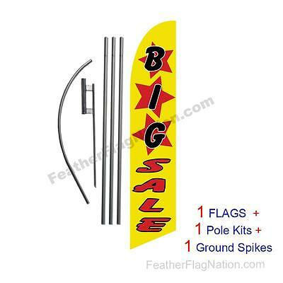 BIG SALE (yellow) 15' Feather Banner Swooper Flag Kit with pole+spike