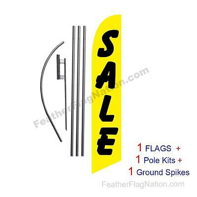 SALE (yellow & black) 15' Feather Banner Swooper Flag Kit with pole+spike