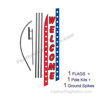 Welcome (American) 15' Feather Banner Swooper Flag Kit with pole+spike