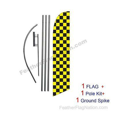 Yellow and Black Checkered 15ft Feather Banner Swooper Flag Kit with pole+spike