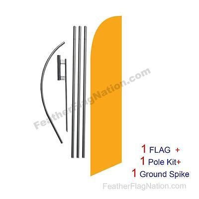 Solid Golden Yellow 15ft Feather Banner Swooper Flag Kit with pole+spike