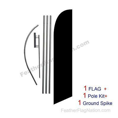 Solid Black 15ft Feather Banner Swooper Flag Kit with pole+spike