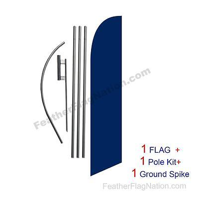 Solid Dark Blue 15ft Feather Banner Swooper Flag Kit with pole+spike