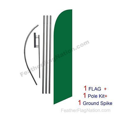 Solid Dark Green 15ft Feather Banner Swooper Flag Kit with pole+spike