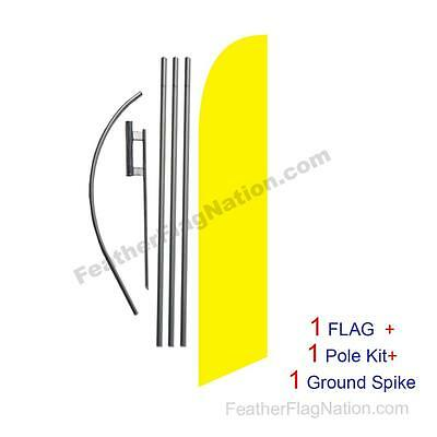 Solid Yellow 15ft Feather Banner Swooper Flag Kit with pole+spike