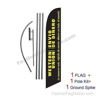 Envio De Dinero 15ft Feather Banner Swooper Flag Kit with pole+spike