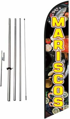 Mariscos 15ft Feather Banner Swooper Flag Kit with pole+spike