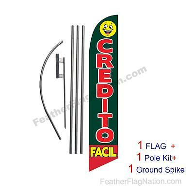 Credito Facil 15ft Feather Banner Swooper Flag Kit with pole+spike