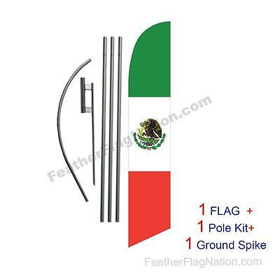 Mexican Flag 15ft Feather Banner Swooper Flag Kit with pole+spike