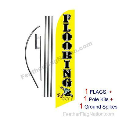Flooring (yellow) 15ft Feather Banner Swooper Flag Kit with pole+spike