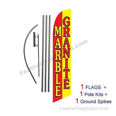 Marble Granite 15ft Feather Banner Swooper Flag Kit with pole+spike