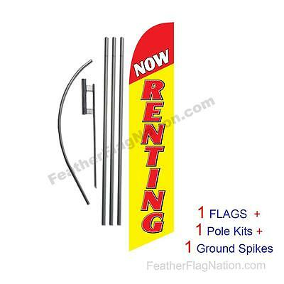 Now Renting (red & yellow) 15ft Feather Banner Swooper Flag Kit with pole+spike