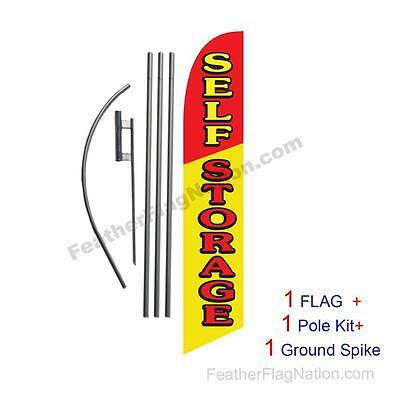 Self Storage 15ft Feather Banner Swooper Flag Kit with pole+spike