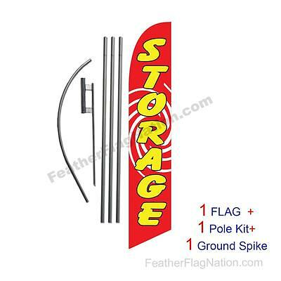 Storage (red) 15ft Feather Banner Swooper Flag Kit with pole+spike