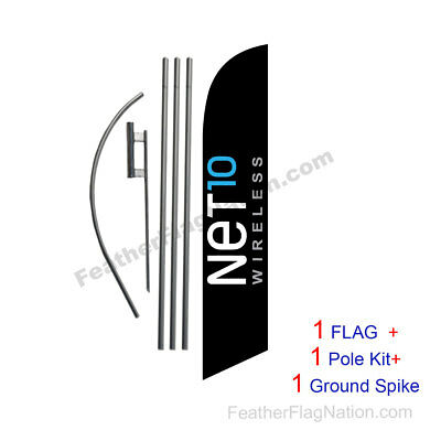 Net10 Wireless 15ft Feather Banner Swooper Flag Kit with pole+spike