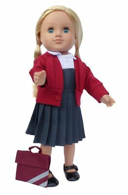 Frilly Lily Grey School Pinafore , White Blouse , Burgundy Cardigan And Bookbag