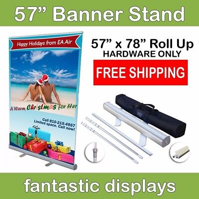 "57"" Retractable Roll Up Banner Stand - Holds 34"" to 78"" Tall Banners"